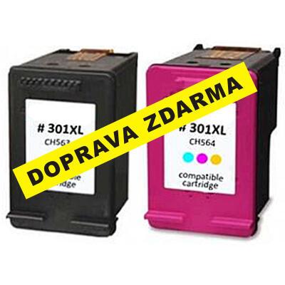 Inkousty HP 301XL / CH563E + CH564E kompatibilní, černý + barevný, sada