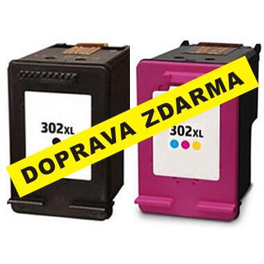 Inkousty HP 302XL / F6U68AE + F6U67AE kompatibilní, černý + barevný, sada