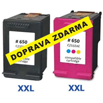 Inkousty HP 650 XXL / CZ101AE CZ102AE, 650 XL kompatibilní, černý + barevný, sada