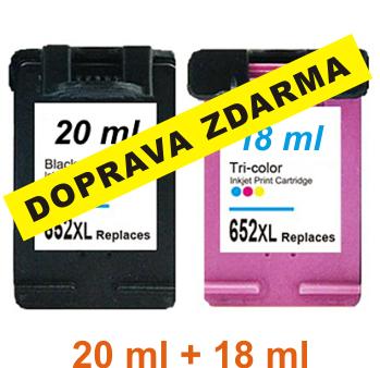 Inkousty HP 652XL / F6V25AE + F6V24AE kompatibilní, černý + barevný, sada č.2, 20+18 ml