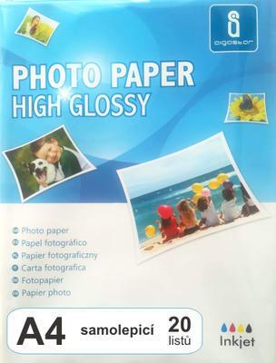 Fotopapír samolepicí, lesklý A4, 115 g, 20 listů