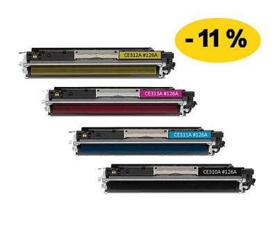 ** Sada 4 tonerů CMYK kompatibilní s HP CE310,1,2,3A se slevou 11 % !!