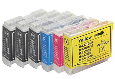 ** Sada 6 inkoustů LC-1000 (LC-970) do tiskáren Brother se slevou 15 % !!