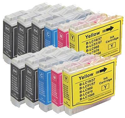 ** Sada 11 inkoustů LC-1000 (LC-970) kompatibilní s Brother se slevou 25 % !!