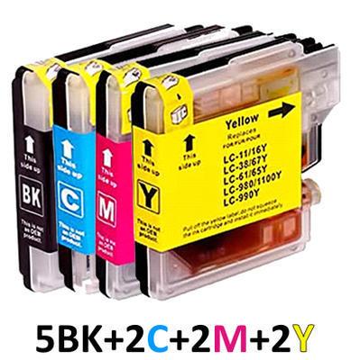 ** Sada 11 inkoustů LC-1100 (LC-980) CMYK kompatibilní s Brother se slevou 25 % !!