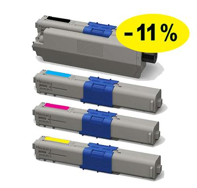 ** Sada 4 tonerů CMYK kompatibilní s OKI C301, C321, MC332 se slevou 11 % !!