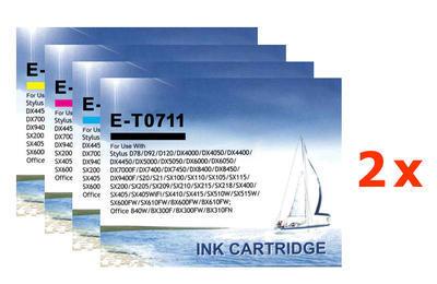 ** Sada 8 inkoustů Epson T0711 T0712 T0713 T0714 kompatibilní - sleva 20 % !!