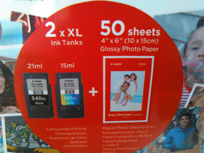 ** Inkousty Canon PG-540XL + CL-541XL + 50x fotopapír, originální - 2