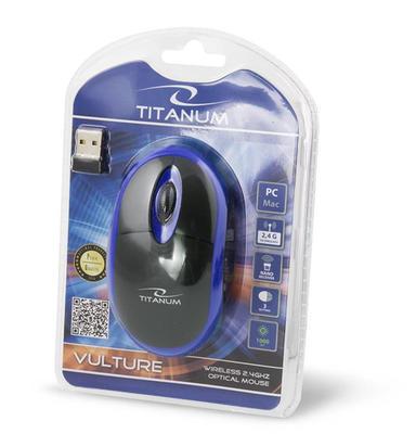 Titanum TM116B VULTURE bezdrátová optická myš, 1000 DPI, černo-modrá - 3