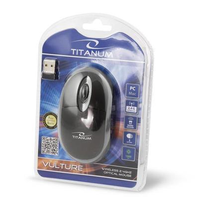 Titanum TM116E VULTURE bezdrátová optická myš, 1000 DPI, černo-šedá - 3