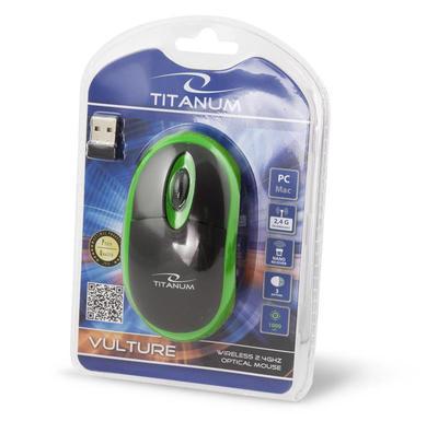 Titanum TM116G VULTURE bezdrátová optická myš, 1000 DPI, černo-zelená - 3