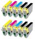 ** Sada 10 inkoustů Epson T1281 T1282 T1283 T1284 kompatibilní, sleva 22 % !!